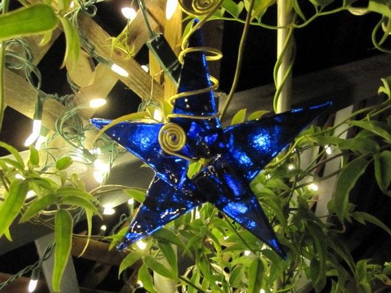 Cobalt Blue Star Chritmas Glass Ornament 30
