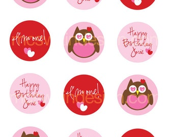 Love Owl Birthday Party Circles Printable