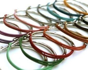 Leather metal bangle