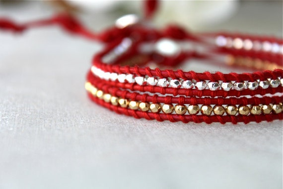 Red Single Wrap Bracelet Sterling Silver and 24k Gold Plate