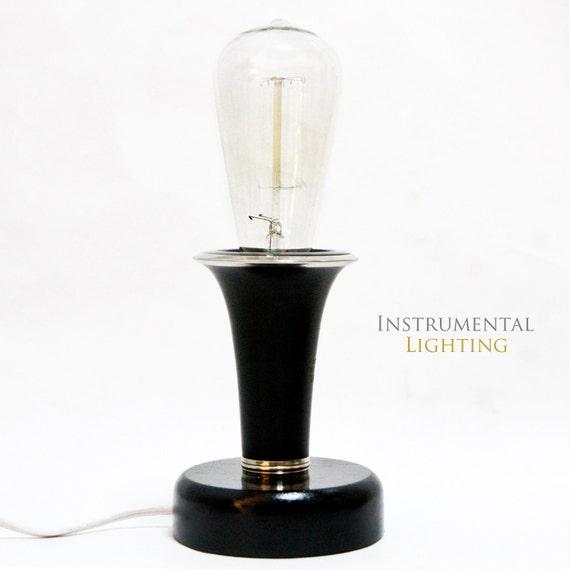 Clarinet Bell Lamp - round wood base