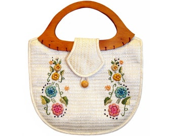 Vintage 1960s Handbag, Bohemian Raffia Purse, Embroidered Flowers