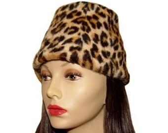 Vintage Leopard Hat, Faux Fur, 1940s