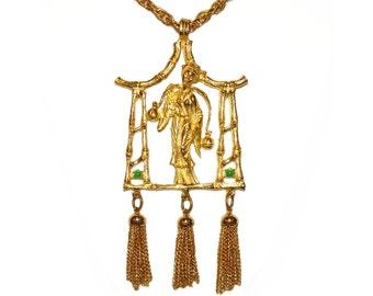 Hattie Carnegie Necklace, Japanese Geisha, Bohemian Golden Tassel, Rare, Signed