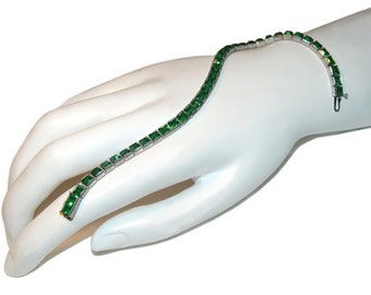 Rhinestone Tennis Bracelet, Sterling Silver, Emerald Green, Art Deco, 1920s