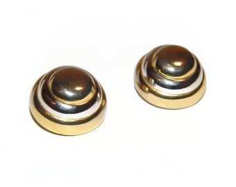 Lanvin Earrings, Modernist Gold and Silver Banded Domes, Clip, Signed, Rare, Collectible, 1970s