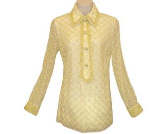 Valentina Beaded Tunic, Shirt, Rhinestones, Vintage 1960s