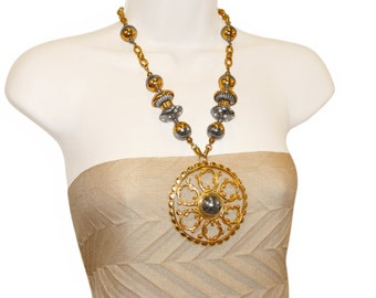 Lucien Piccard Necklace, Bohemian Runway,Two Tone Metal and Rhinestones, Signed, 1970s