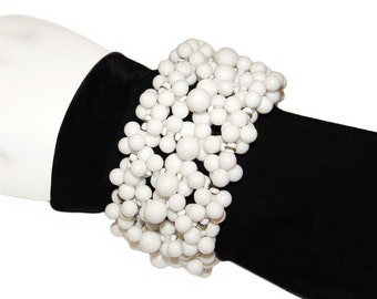 Miriam Haskell Bracelet, White Mod Beaded Wire Wrap, Signed, Rare, 1950s