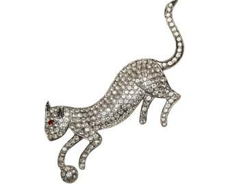 Rhinestone Cat Brooch, Polcini, Art Deco Style, Signed, 1960s
