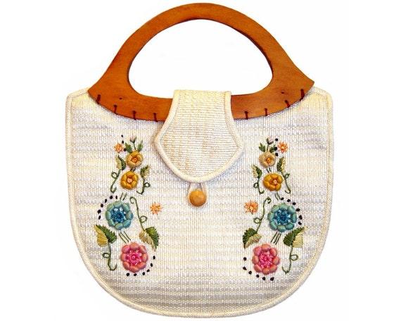 Vintage 1960s Handbag, Bohemian Raffia Purse, Embroidered Flowers