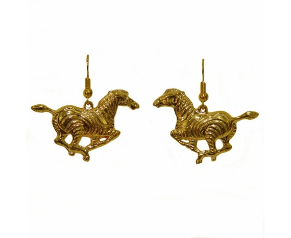 Earrings, Golden Zebras, Pierced, 80s