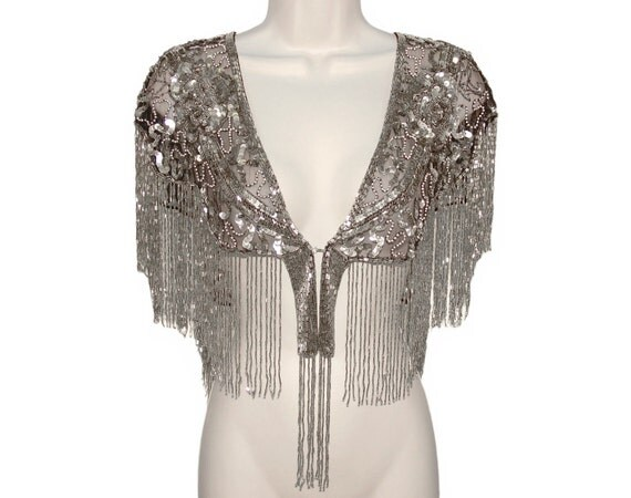 beaded sequin shawl deco fringed luxurious