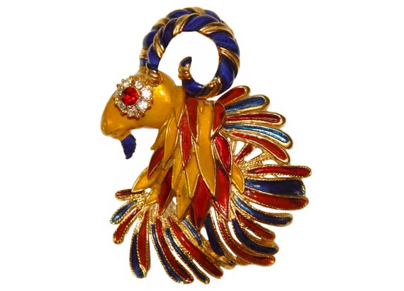 RESERVED for WEN Mimi di N Brooch, Ram, Mythological Creature, Signed, Rare, Collectible, Early 1960s