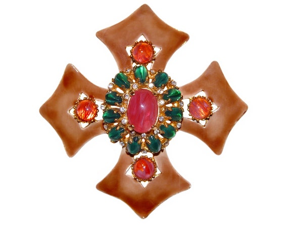 Kenneth Lane Brooch, Large Maltese Cross, K.J.L., Signed, Rare, Collectible, 1960s