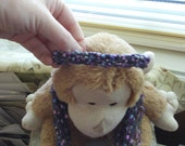 Crocheted shades of violet ladder trellis yarn barrette