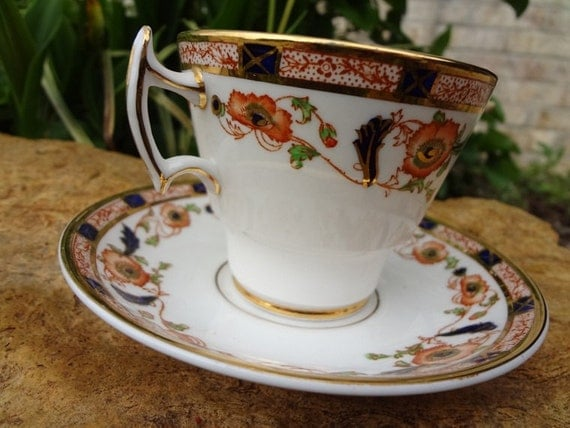 Phoenix / Burnt Orange / Gold Detail / Tea Cup and Saucer / Bone China