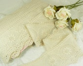 One Yard Lace - Antique style wide beige cotton lace