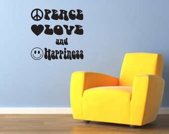 Peace, Love and Happiness Wall Decal