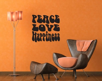 Wall Decal Peace, Love, Happiness Wall Decal