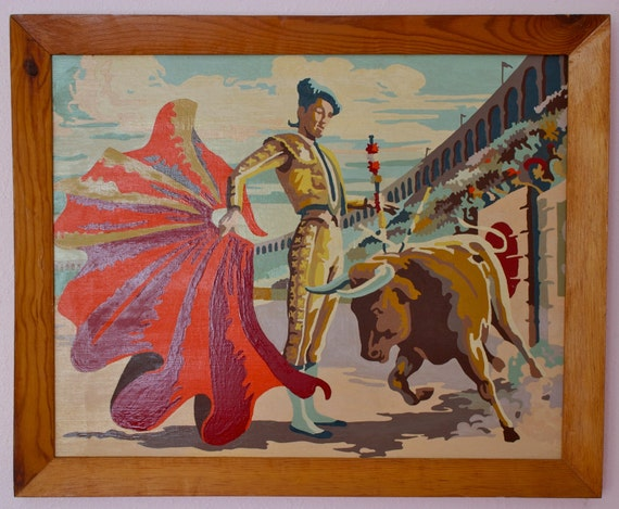 Framed Bull Fighter Paint By Number Paintings, Pair