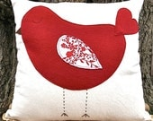 """Red Sleeping Birdie Organic Canvas Pillow Cover/ 16""""x16""""/ OOAK/ Handmade/ Made To Order"""