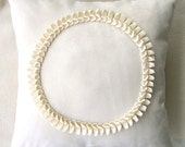 Cream Suede and Ruffled Circle / Handmade Modern Sofa  Pillow Cover/ Ready To Ship