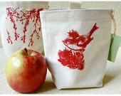 Organic Cotton Canvas Snack Pouch/School Lunchbag/ Hand Printed in Red/ Ready to Ship
