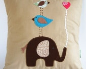 Natural Cotton Children's Pillow Cover/In Natural Colors Teal Brown Green/ Elephant With Birds/ Good to Have a Strong Friend/ Made to Order