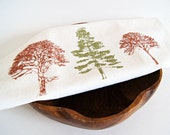 SALE/ Organic Linen Cotton Tea Towel / Hand Printed Forest in Green and Copper Brown/ Ready To Ship