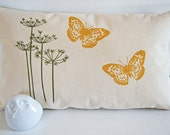 Queen Anne's Lace with Butterflies Pillow Cover / Organic Cotton Canvas/ Green and Yellow/ Long Form 12x20/ Made To Order