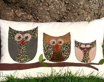 """Owl Pillow/ Organic Canvas Pillow Cover/ Decorative Pillow/ 12""""x20""""/ OOAK /  Made To Order"""