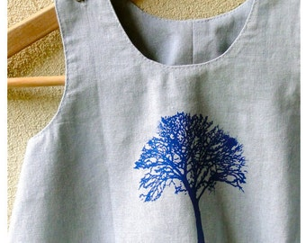 Organic Linen Cotton Light Blue Dress/ Tree of Life Hand Printed in Blue/ Summer Girls Dress/Made To Order