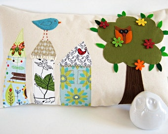 """Pillow Cushion Cover/Houses and Tree Owl Bird/Organic Canvas/Bedding/12""""x20""""/ OOAK/ Made To Order"""