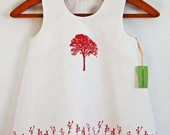 Organic Linen White Girls Dress/ Tree of Life & Field Flowers Hand Printed in Red/ Made To Order