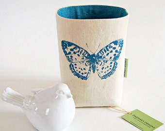 Organic Cotton Canvas Teal Blue Box Bin Organizer Storage Basket/ Handprinted Teal Butterfly/ Vintage Silk Cotton Teal Lining/ Made To Order