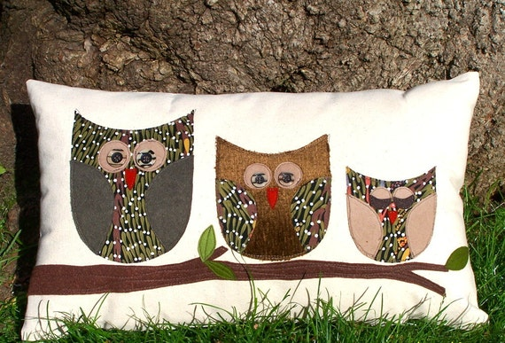 Decorative Pillow Patterns To Sew : Owl Pillow/ Organic Canvas Pillow Cover/ Decorative Pillow/