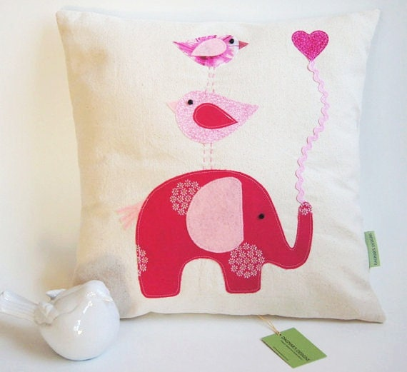 Unique listing for Amanda/Organic Cotton Canvas/ Elephant with Birds/ / Pink Children's Pillow Cover/ In Pink/ Made to Order