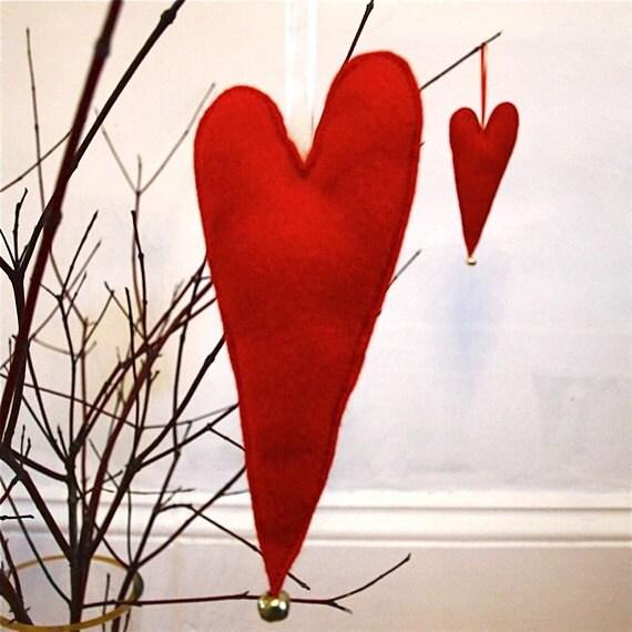Red Hearts Eco Felt Decoration/ Valentine's Day Ornament/ Handmade / Ready To Ship