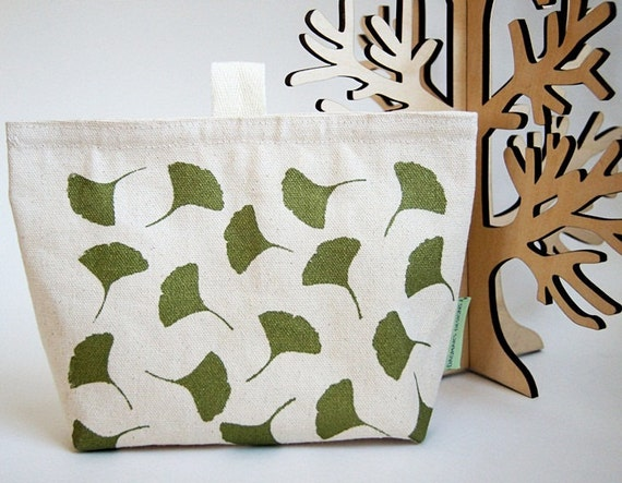 Gingko Organic Cotton Canvas Make Up Pouch/ Hand Printed in Green/ Made To Order