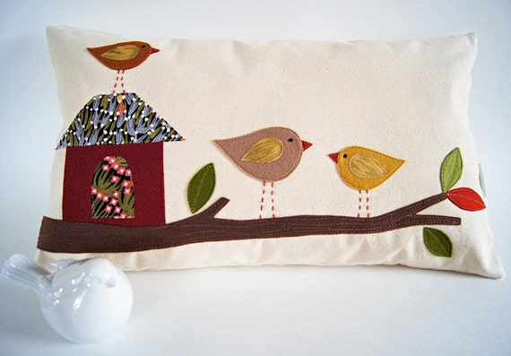 """Tree House Bird Family Organic Canvas Pillow Cover/ 12""""x20""""/ OOAK/ Made To Order"""