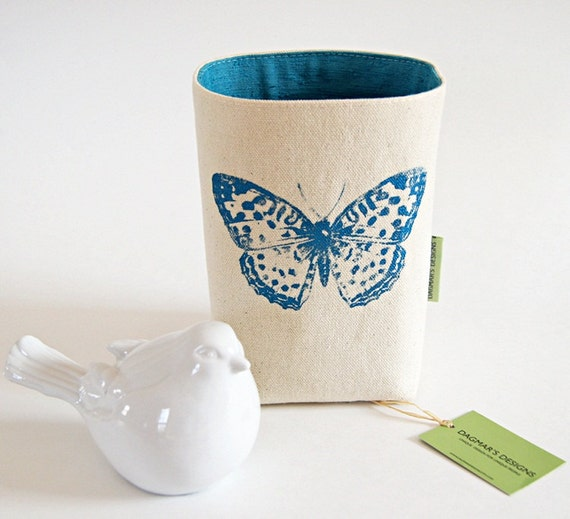 Organic cotton canvas teal blue box bin organizer storage for Teal bathroom bin