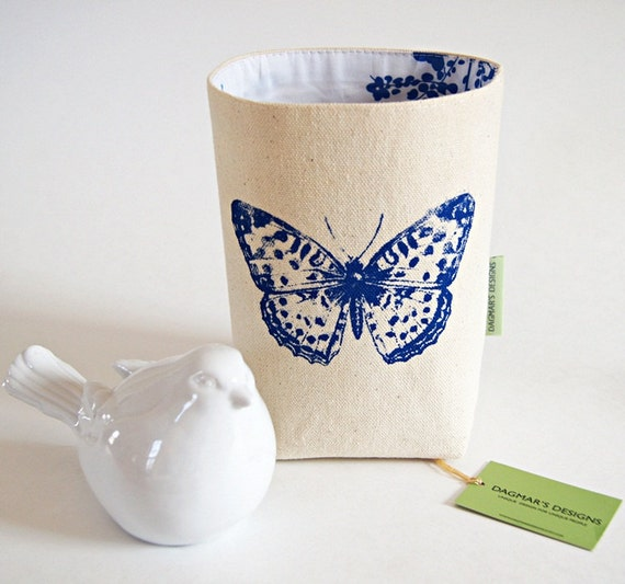 Organic Cotton Canvas Blue Box Bin Organizer Storage Basket/ Handprinted Blue Butterfly/Made To Order