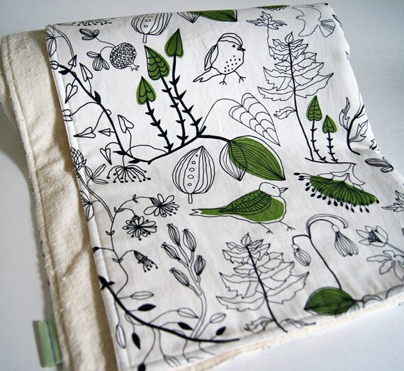 Organic Nature Print Baby Blanket/ Eco Friendly Kids Bedding/ Green/ Unisex/ Made To Order