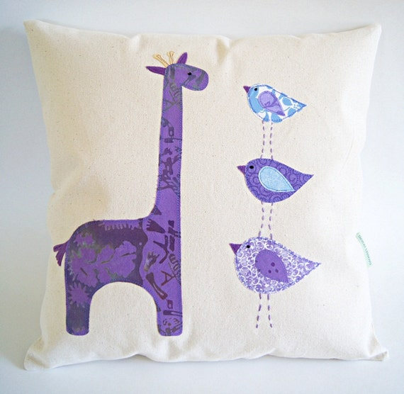 Organic Cotton Canvas Pillow Cover In Purple/ Taller the Better/Giraffe and Birds/ Children's Pillow Cover/ OOAK/ Made to Order