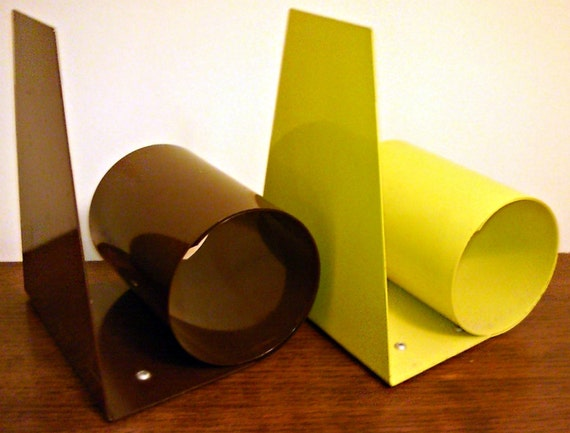 SALE Marked 18% Off Groovy Pair Scroll Bookends Yellow and Brown Enamel