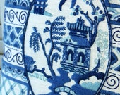 Beautiful Oriental Design Hand Embroidered Blue and White Pillow, 14 in.