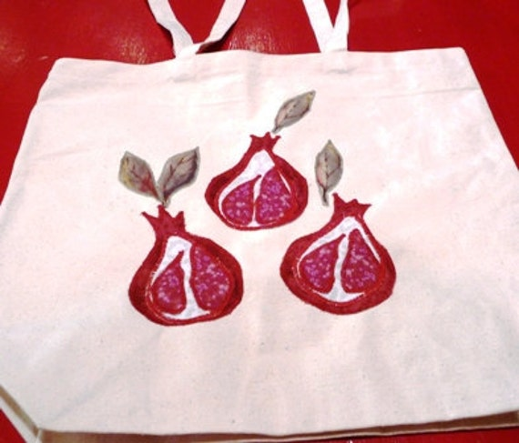 Canvas Tote Red Ripe Pomegranates, Messenger bag, Market Tote,book bag or Carry All