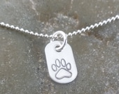 Paw Print Charm Necklace - Dog Charm - Paw Charm - Dog Lover - Hand Stamped Solid Sterling Silver