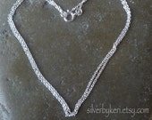 """1mm Cable Chain -  16"""" or 18"""" - Chain Only - Solid Sterling Silver"""
